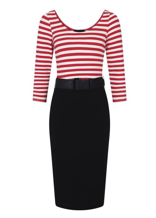 Collectif Manuela Striped Black/Red Wiggle Dress +