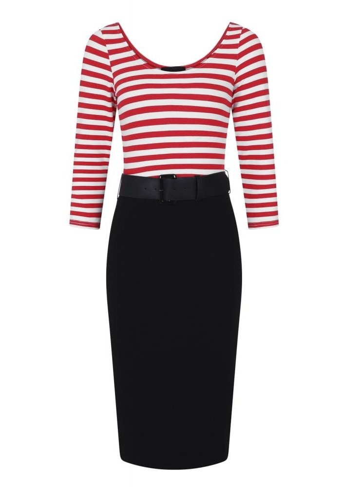 Manuela Striped Black/Red Wiggle Dress +