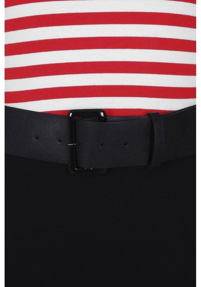 Manuela Striped Black/Red Wiggle Dress +