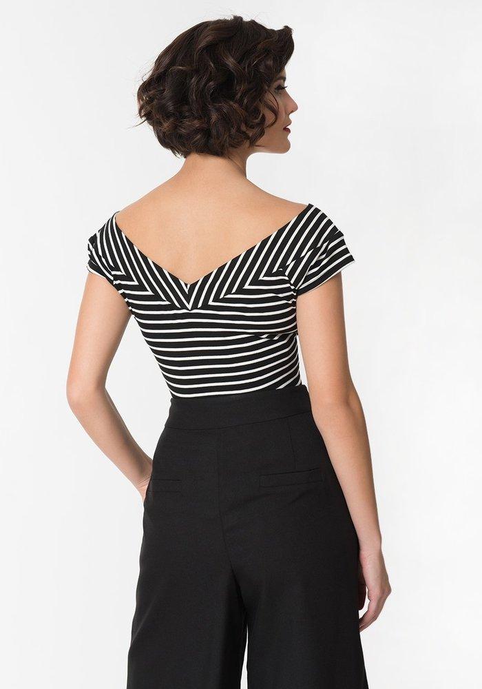 Deena Black & White Top