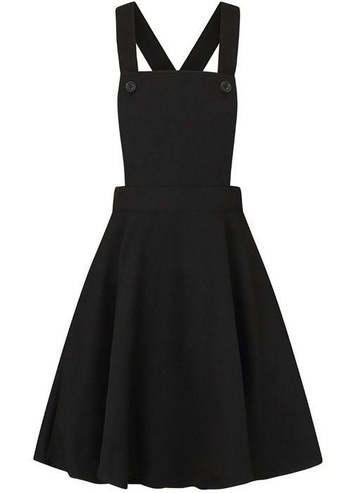 Hell Bunny Amelie Pinafore Black Swing Dress +