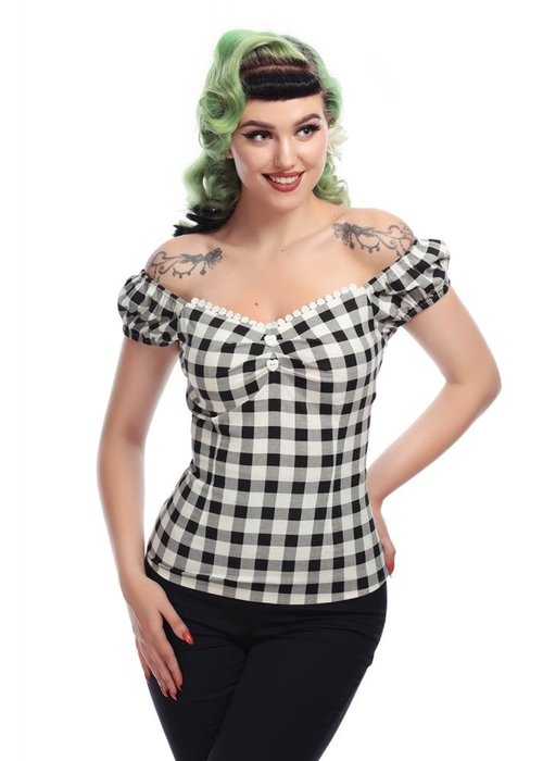Collectif Dolores Black Gingham Top