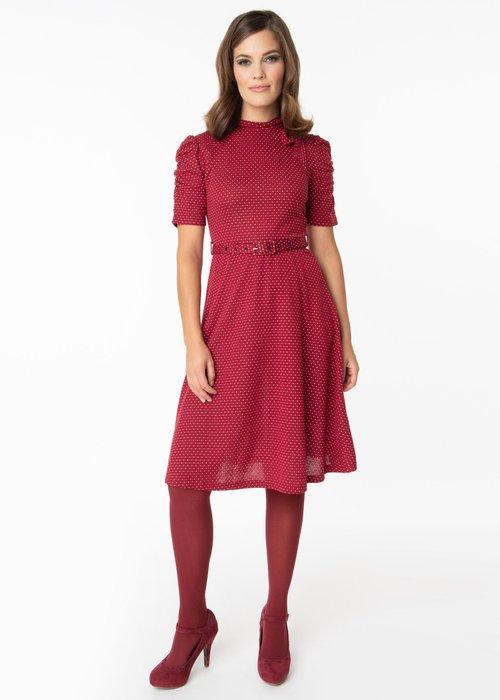 Voodoo Vixen Posie Burgundy Dress