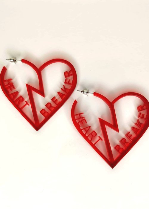 Kitsch'N Swell Boucles d'oreille Heart Breaker Rouge