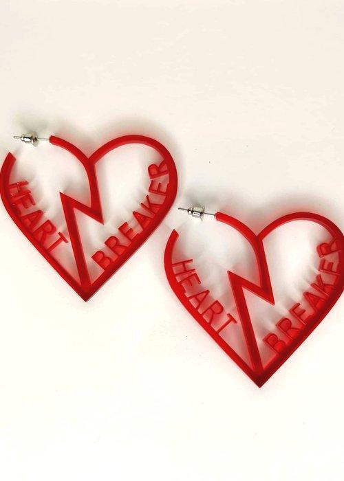 Kitsch'N Swell Heart Breaker Red Earrings