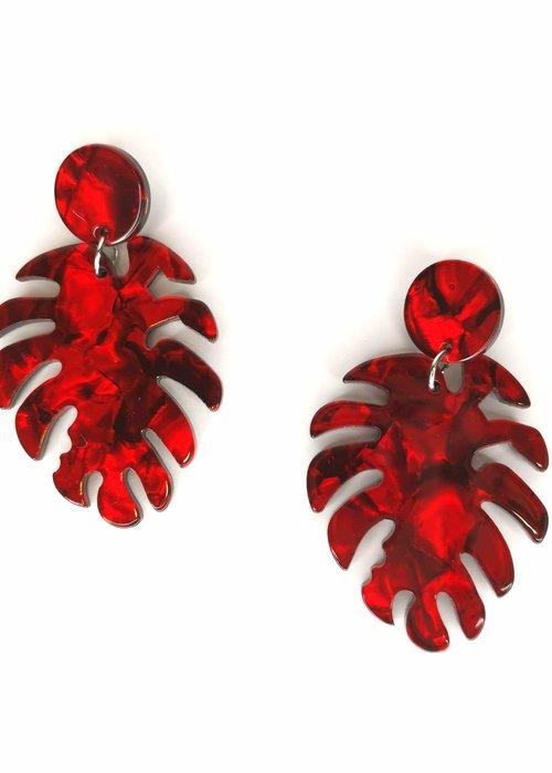 Kitsch'N Swell Red tropical leaf Earrings