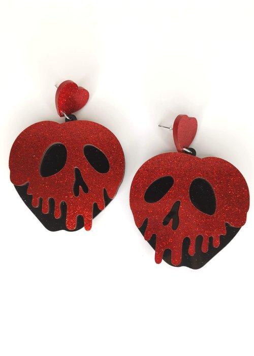 Kitsch'N Swell Boucles d'oreilles pomme empoisonnée rouge