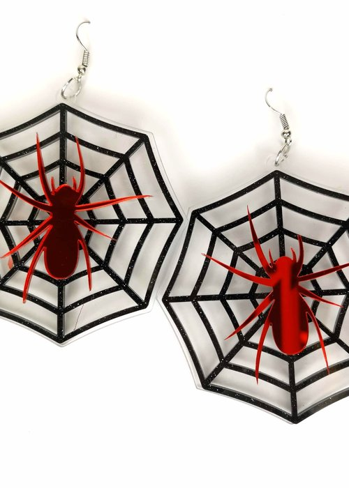 Kitsch'N Swell Boucle d'oreille Araignée rouge