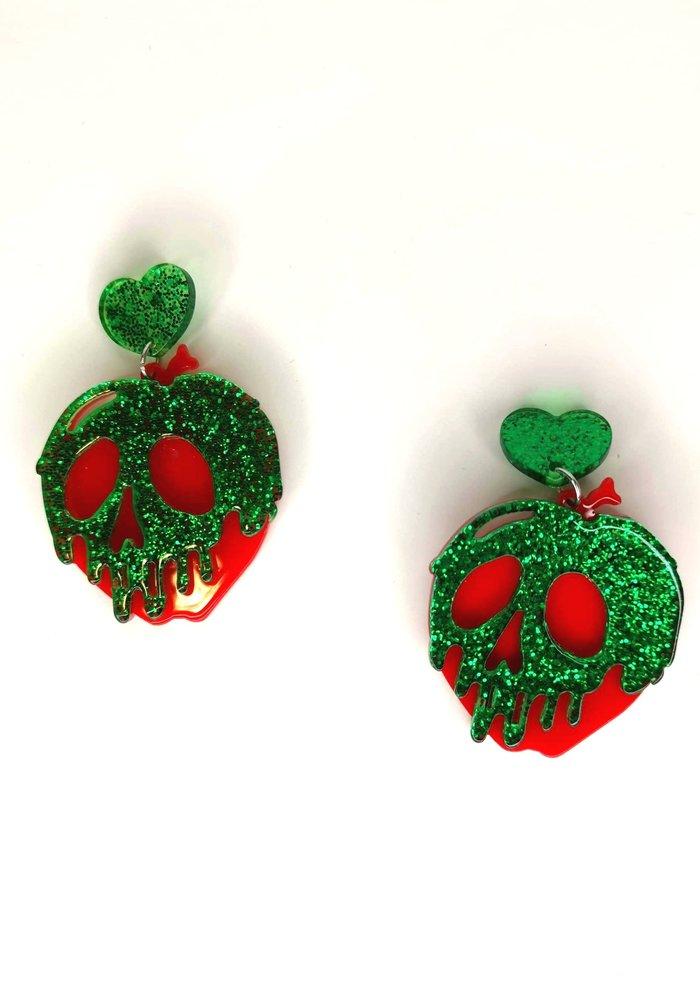 Green Poisoned Apple Earrings