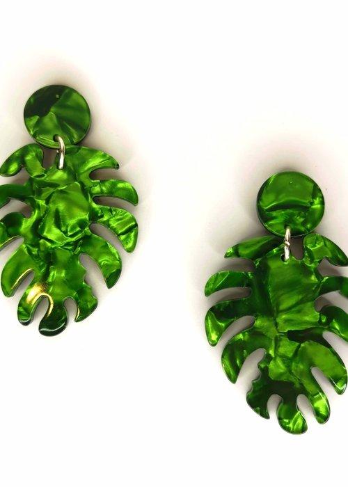 Kitsch'N Swell Tropical Green Leaf Earrings