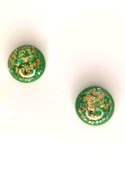 La Sainte Green & Gold Rond Earring