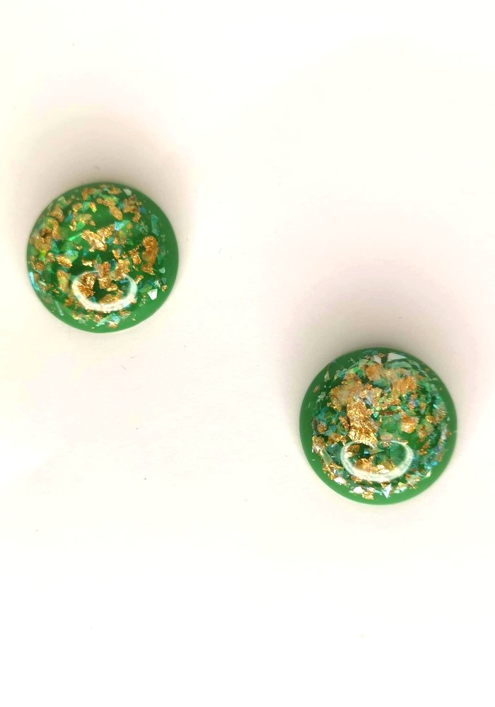 Green & Gold Rond Earring