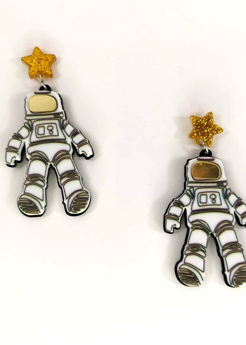 Kitsch'N Swell Boucle d'Oreille Space Man Blanche
