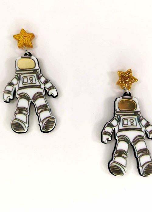 Kitsch'N Swell Space Man White Earring