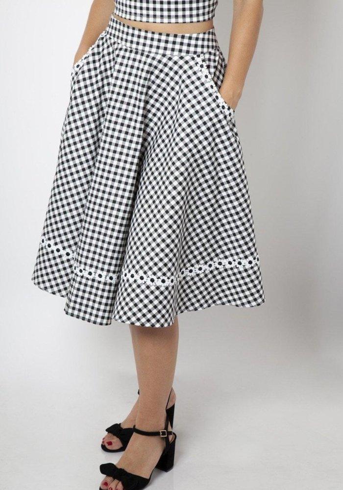 Ava Daisy Black Gingham Skirt