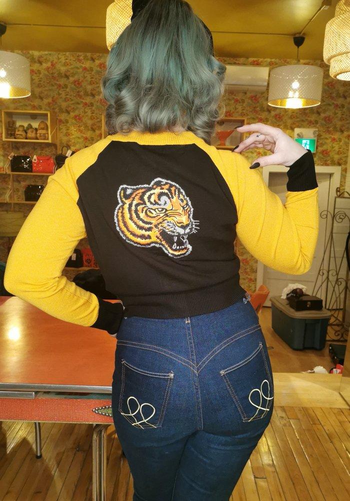 Cardigan Tigre Moutarde
