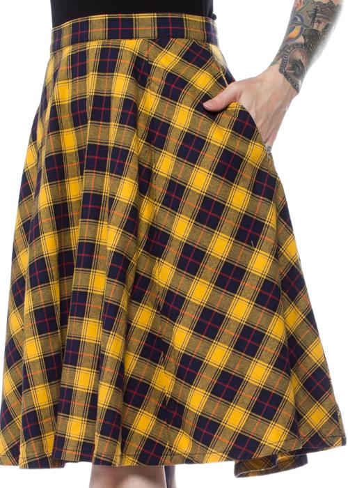 sourpuss Yellow Plaid Skirt
