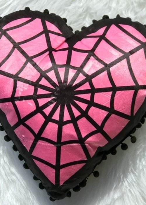 sourpuss Coussin Spiderweb Heart Rose
