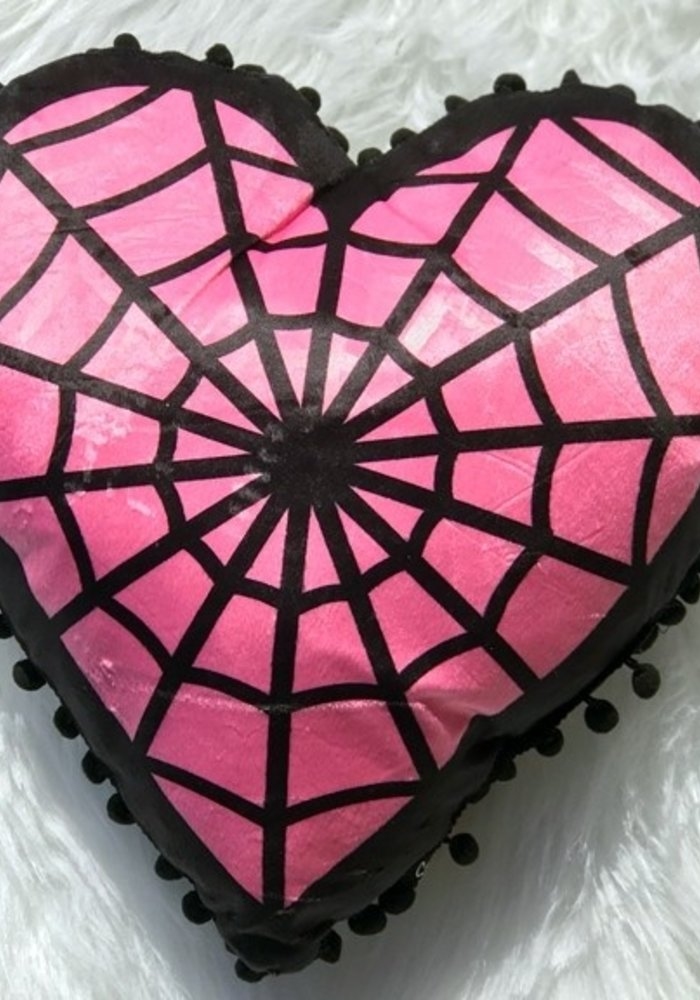 Coussin Spiderweb Heart Rose