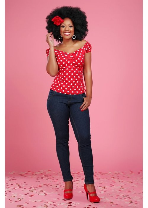 Collectif Red Polka Dot Dolores Top