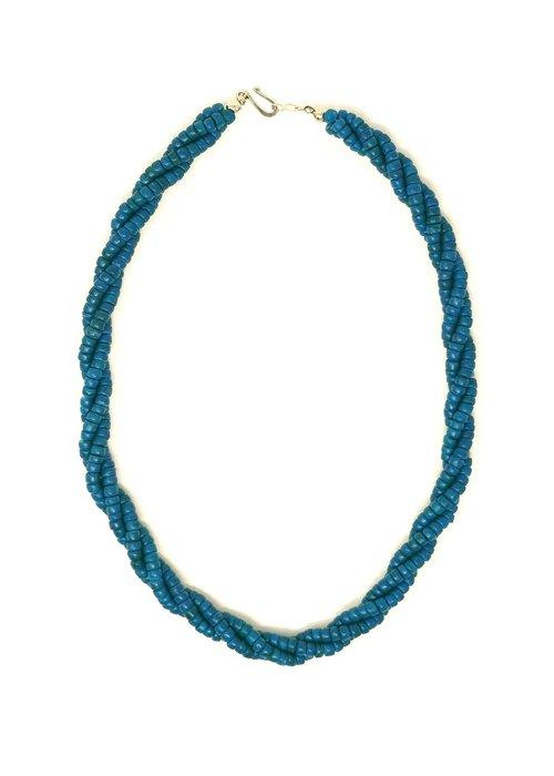 Kitsch N' Swell Collier Torsade Bois De Calebasse Bleu
