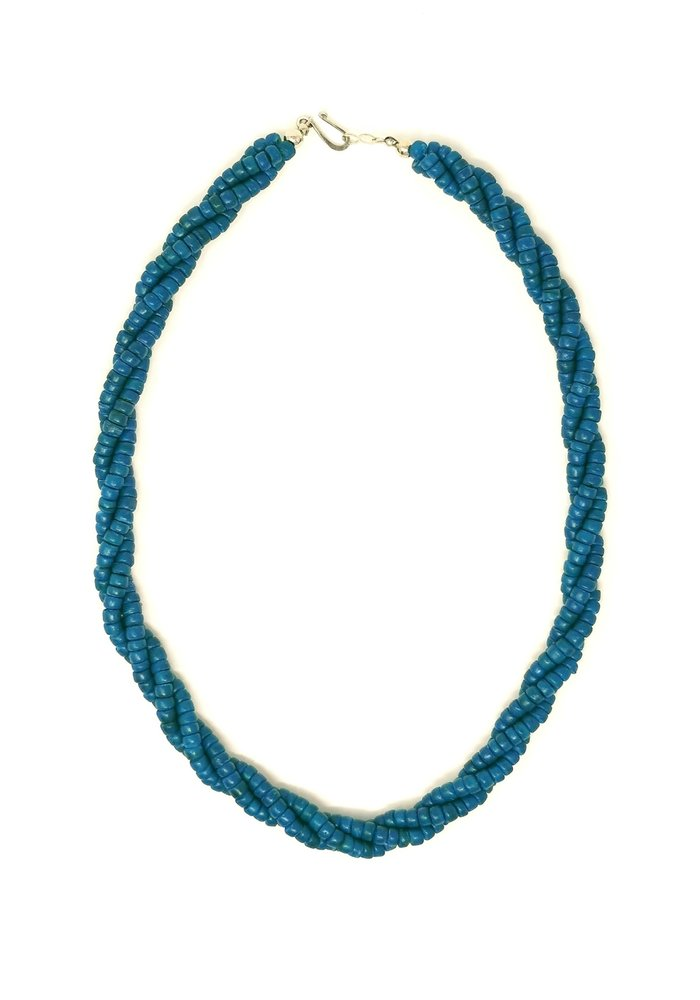 Collier Torsade Bois De Calebasse Bleu