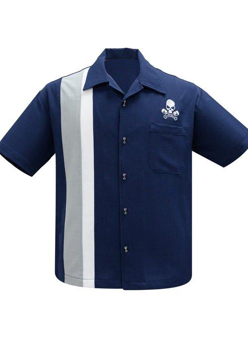 Steady Clothing Skull & Piston  Navy Shirt