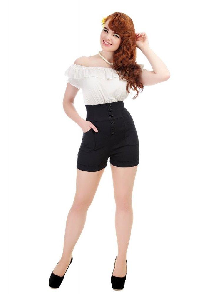 Nomi Plain Black Shorts