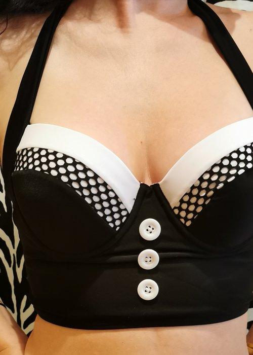 Kitsch N' Swell Top Bikini Noir & Blanc