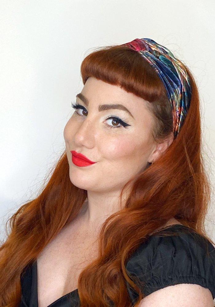 Large Multi Coloured Velvet Turban