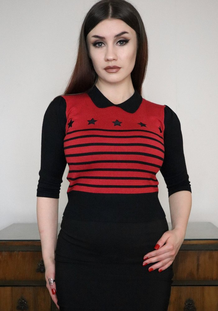 Rigel Star Knitted Top Black & Wine