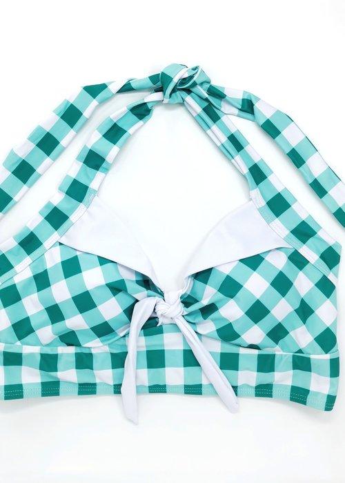 Kitsch N' Swell Turquoise Gingham Bikini Top