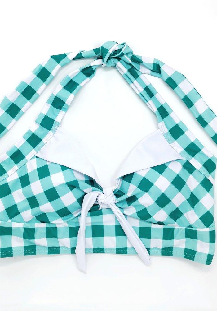 Turquoise Gingham Bikini Top
