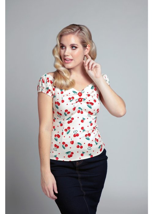Collectif Cherry White Dolores Top