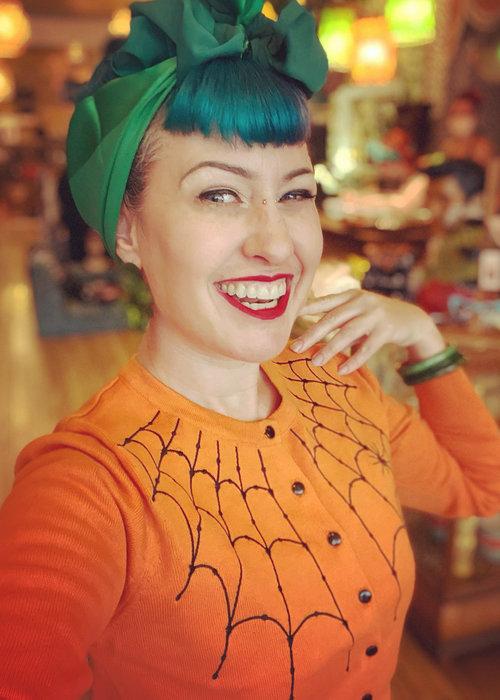 Banned Cardigan Under Her Web Spell Orange