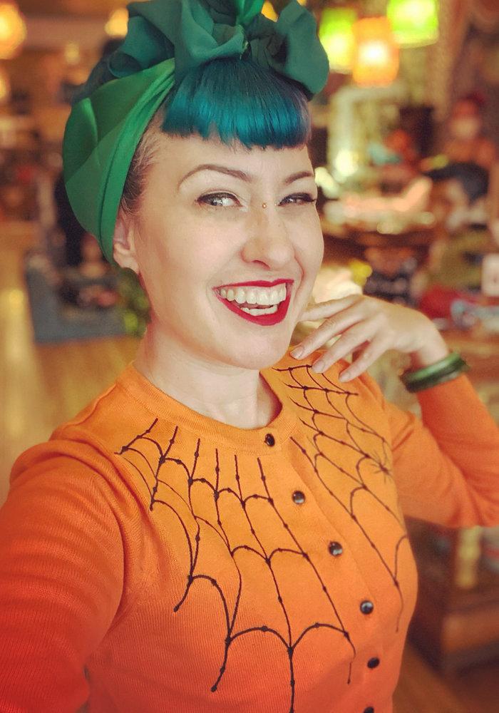 Under Her Web Spell Orange Cardigan