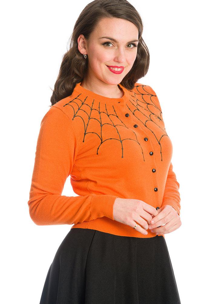 Cardigan Under Her Web Spell Orange