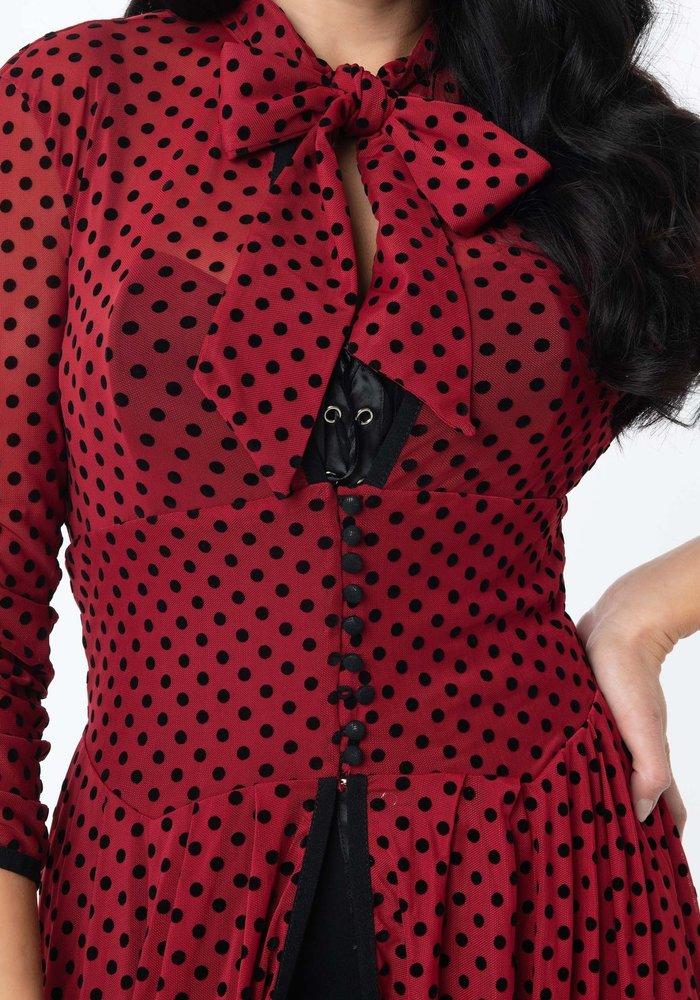 Peignoir Tallullah Rouge Et Noir À Pois