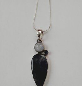 sodalite and moonstone pendant with silver chain