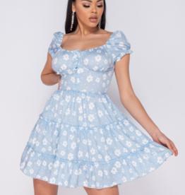 Parisian Daisy Floral Frill Detail Button Up Front Mini Dress