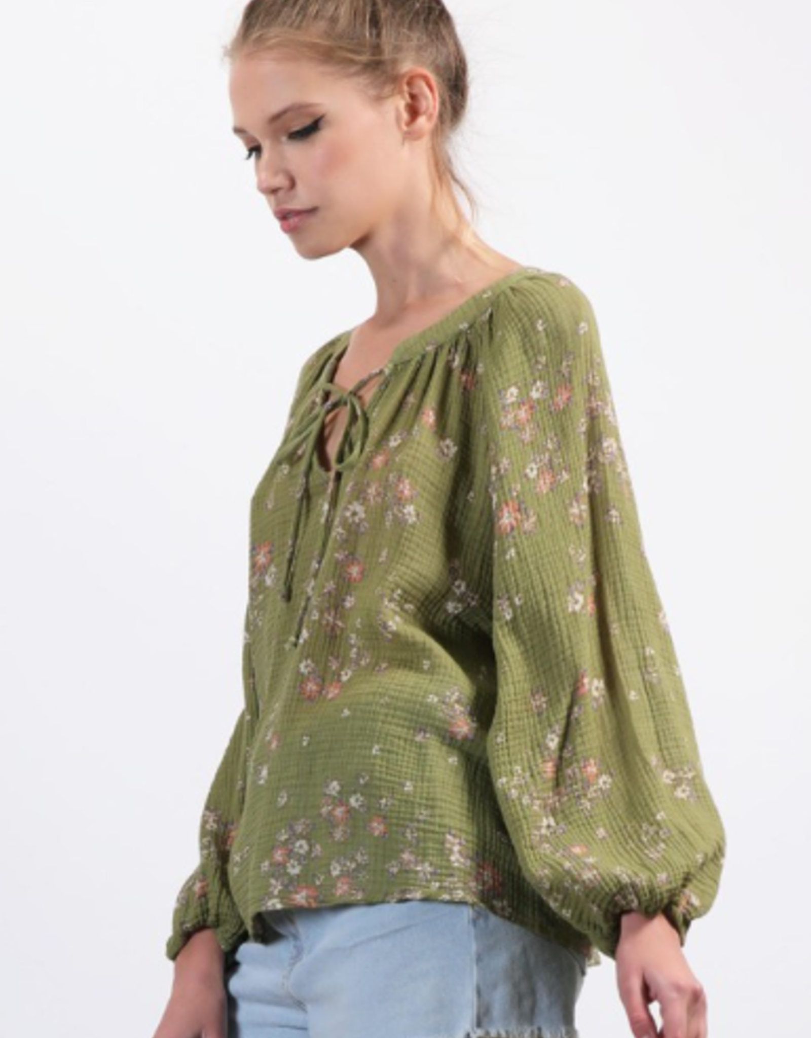 Final Touch Ditsy floral print cotton oversized top 100% cotton