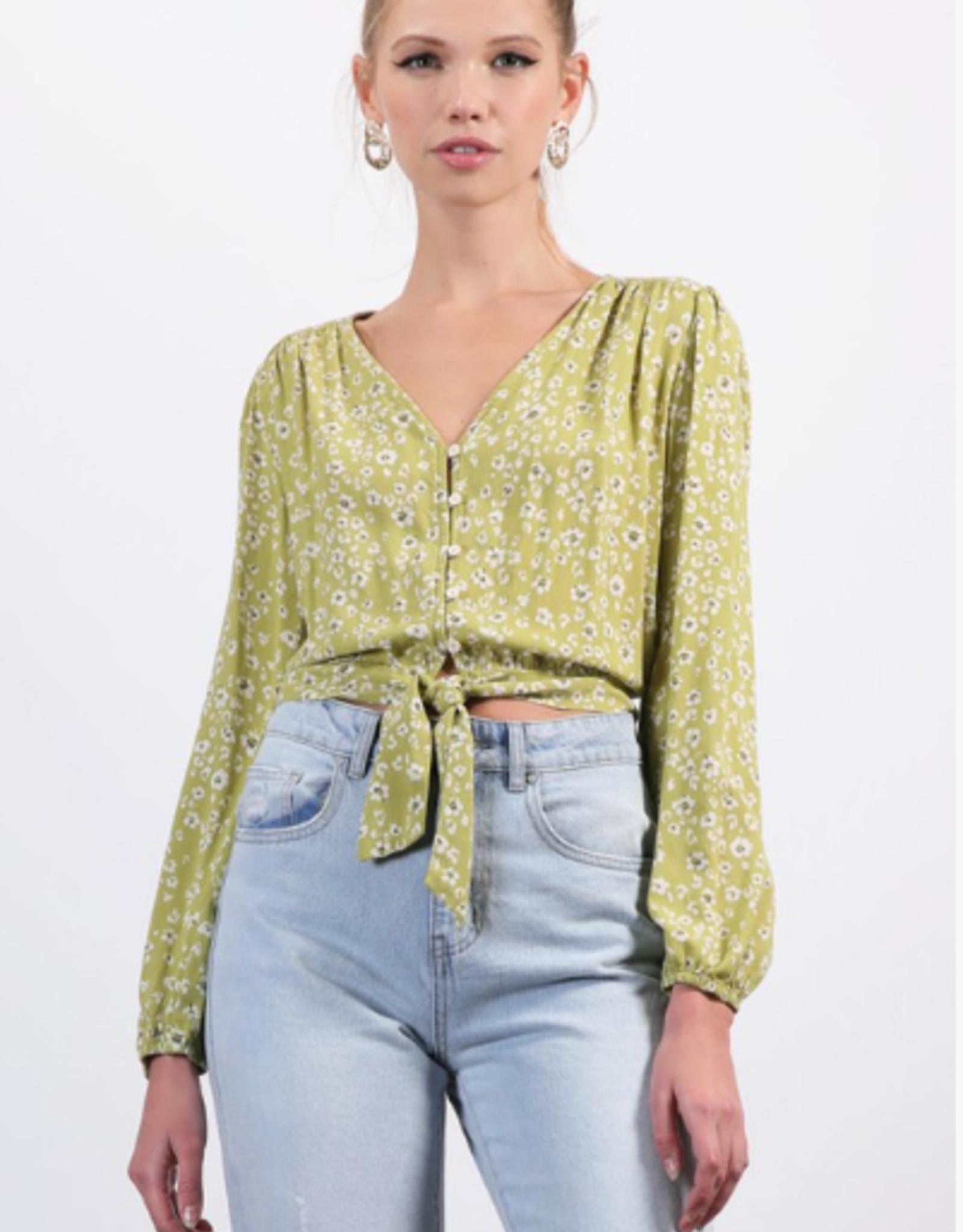 Final Touch floral print button-down blouse