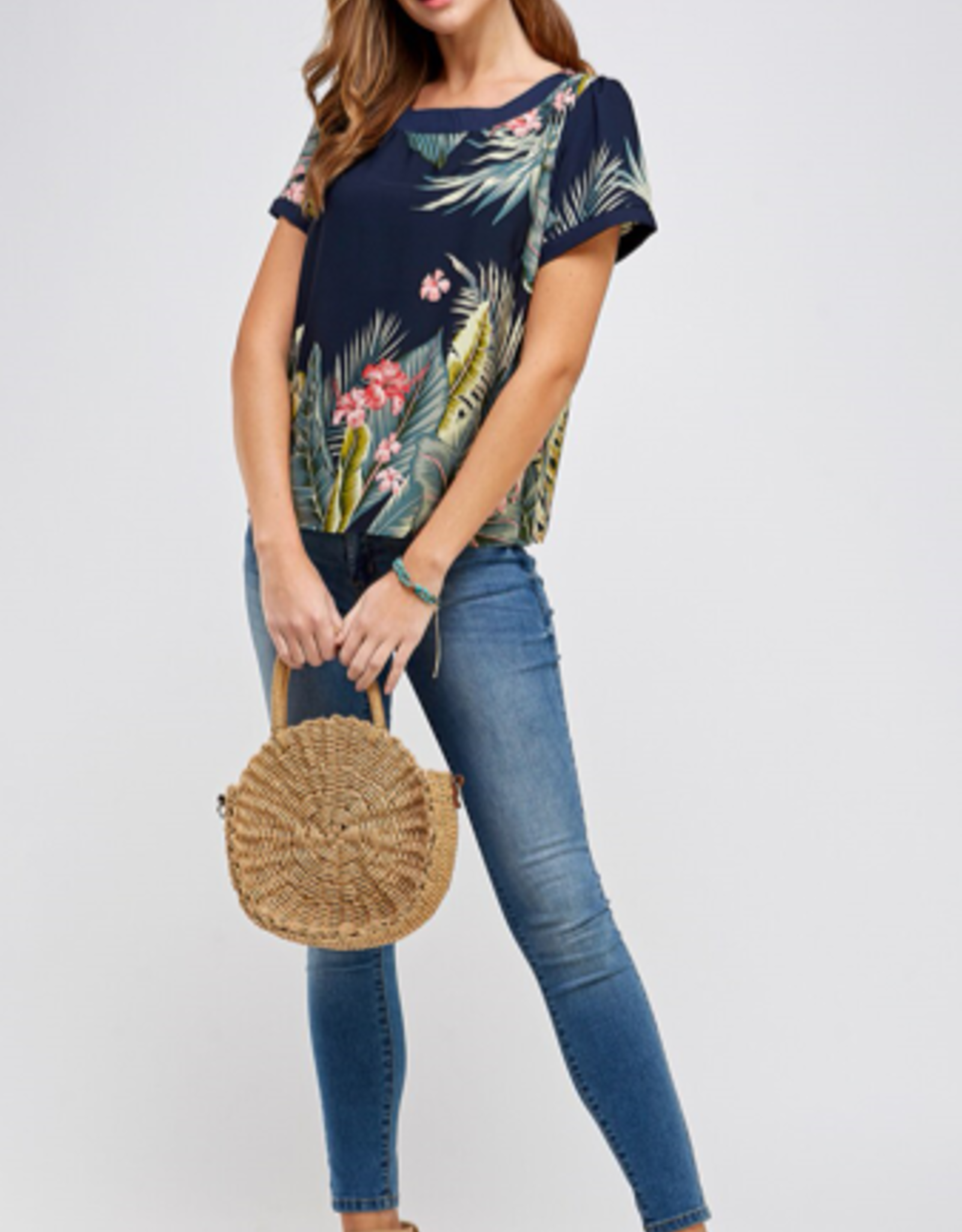Westmoon tropical print top with boat neck