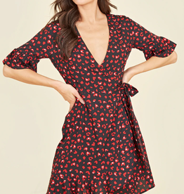 Influence black and red heart print mini wrap dress