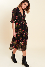Influence black floral print midaxi dress