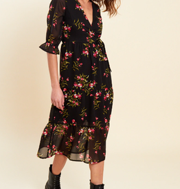 Influence black floral print midaxi dress