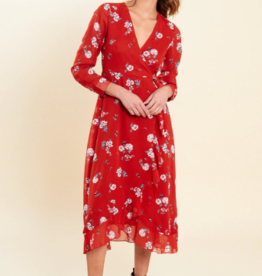 Influence rust floral print long sleeve wrap Midaxi Dress