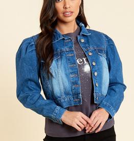 Influence blue cropped puffed sleeve denim jacket