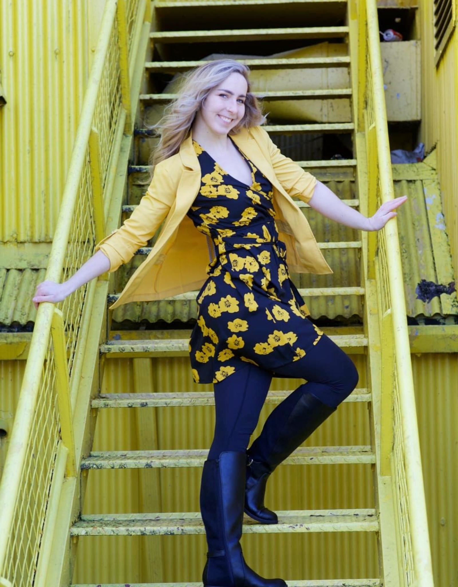 Influence floral print wrap skater dress
