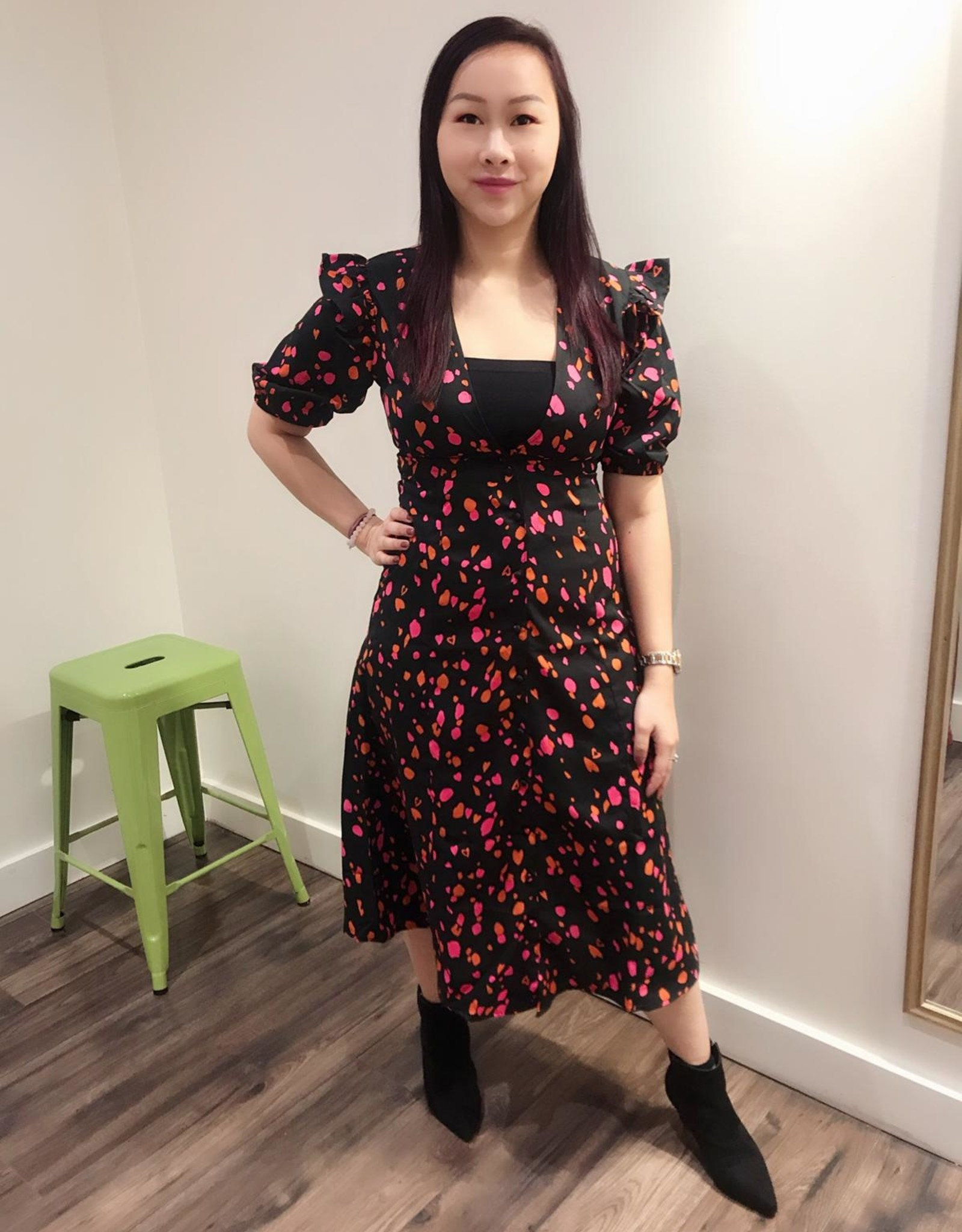 Influence abstract print midi dress